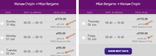 Wizzair discount club przykładowy lot wwa milan