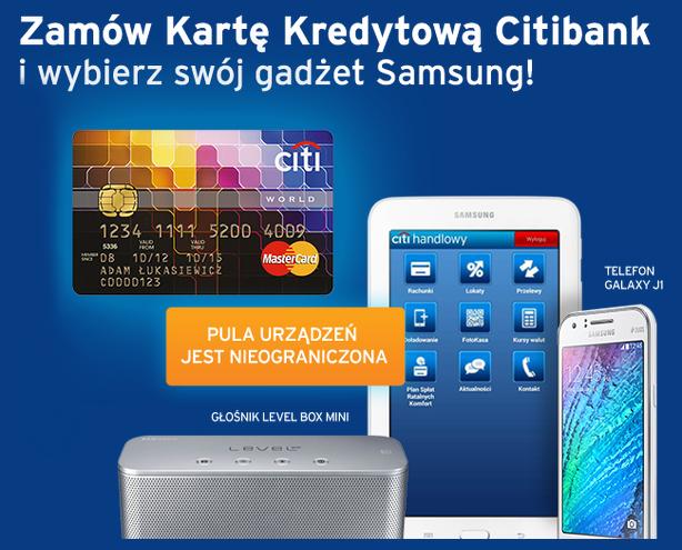 tablet głośnik lub telefon Samsung z Kartą Kredytową Citibank MasterCard World